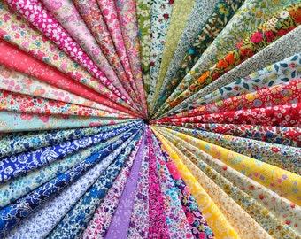 """40 LIBERTY of London Fabric Tana Lawn 5"""" x 5"""" Patchwork Charm pieces 'Liberty Flowers',Liberty Fabric Bundles, Liberty scraps"""