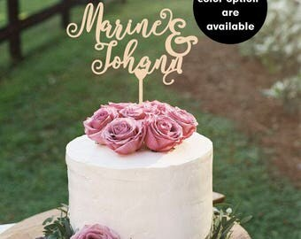 Names Wedding Cake Topper, Wedding Cake Topper gold, Personalised Cake Topper,  Wedding Cake  Decor Centerpiece, Gold Cake toppers,  CT-006