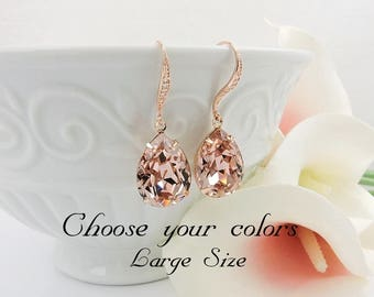 FREE US Ship Rose Gold Blush Swarovski Teardrop Bridal Earrings Swarovski Vintage Rose Teardrop Bridal Earrings Bridesmaid Gift