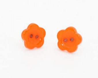 Orange Earring Stud - Button Earrings - Floral Stud Earrings - Flower Earrings Studs - Button Flowers - Button Jewellery - Orange Buttons