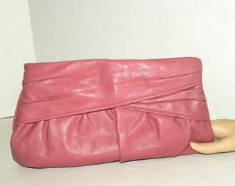 "1980s 80s Dusty Rose PINK Leather Clutch Purse / Pouch Handbag / Nicole / Vintage 12.5"" x 8.5"""