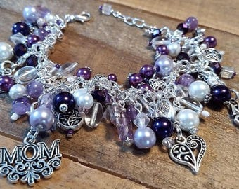 Mother's Day Multi-Charm Bracelet, Jewelry, Purple Beads Mom Charm Bracelet, Personalized Bridesmaid Gift, Removable Charms, Heart Charms