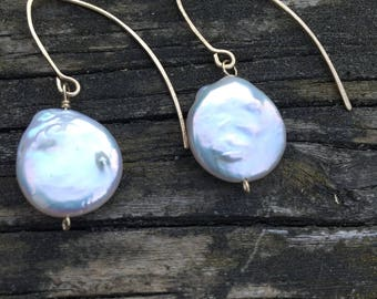 Coin Pearl and 14kt Goldfill Earrings