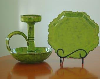 Mid Century Italian Art Pottery Candle Holder Plate Set, Mitteldorfer Straus Peasant Village Cottage Chic Green Ceramic Set, Farmhouse Chic