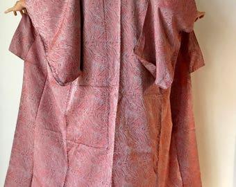 """Japanese Robe - Vintage Japanese Kimono - Size L Kimono - Authentic Kimono - Long Woman's Kimono - Boho Kimono - """"Pink & Silver Marbeling"""""""