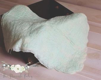 Newborn Wool Layering Blanket, Mint Layer, Felt Layer, Felted Props, Basket Stuffer, Photo Prop, Wool Layer, Basket Filler, Organic Props
