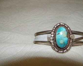 NA #2-K Native American Vintage Sterling & Turquoise Bracelet