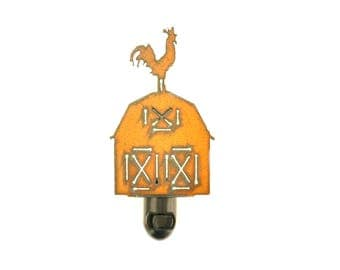 Barn With Rooster Rusty Metal Night Light