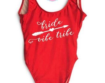Bride Vibe Tribe. Bride Bathing suit. Bride Swimwear. Bride Gift. Bridal Bathing suit. Swim Suit. Bridesmaid Gift. Honeymoon.