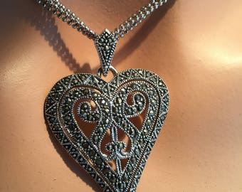 Marcasite and Sterling silver Heart shaped necklace.