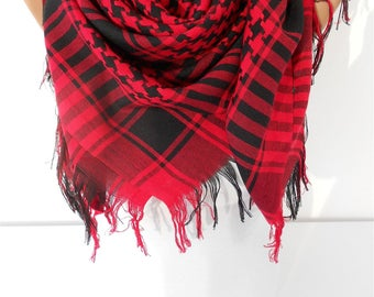 Valentines Gift For Her For Girlfriend For Wife For Women For Mom Red Black Scarf Tassel Scarf Winter Scarf Fashion Accessories Travel Gift