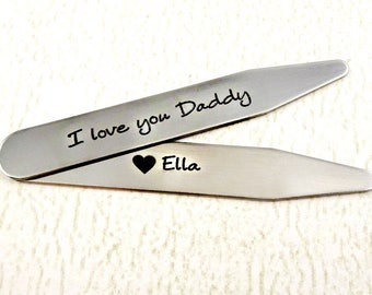 I Love You Daddy - Personalized Collar Stays - One Set of Two Stays - Engraved Father's Day - Grandpa - Dad - Men's Gift