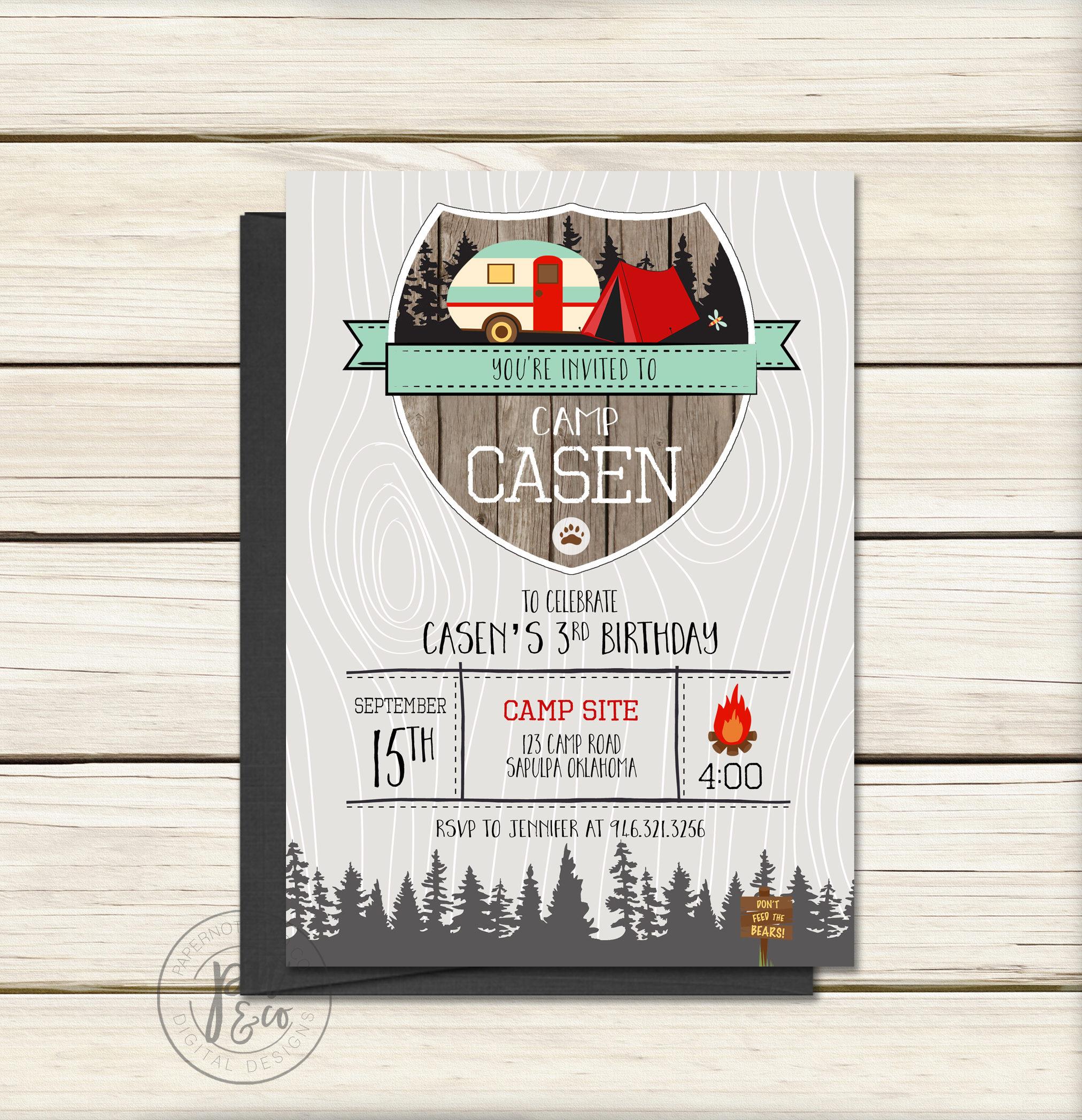Camping Birthday Party Invitation // Camp Party // Camp Invitation ...