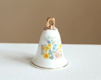 "Vintage white ceramic bell ""To a Wonderful Friend"" / small dinner bell with golden trim and flowers / bell made by Enesco 1979"