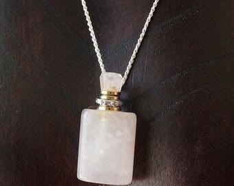 Essential Oil Diffuser Bottle Pendant, Natural Rose Quartz, Perfume Bottle, Stone Necklace, Pink Stone Pendant, Chakra Jewelry,