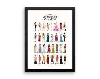 FRAMED Who Run the World Music Poster, The Future is Female Print, Queen B Gift for Her, Fun Pop Art Wall Art, Feminism Art Print