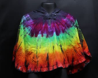 Tie Dye Toddler Hooded Poncho, Trippy Rainbow Baby Cover Up, Hippie Kids Fashion
