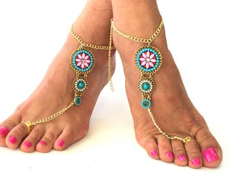 "Barefoot Sandals,"" Mermaid"" Greek leather sandals, turquoise Hippie Sandals, Foot Jewelry, Toe Thong, festival accessories for feet,"