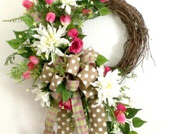 Pink Tulip Wreath, Everyday Wreaths for the Front Door, Mothers Day wreath, Year Round Door hanger, Spring Summer Decor