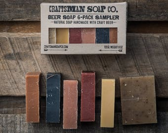 Beer Soap 6-Pack Sample Set // Natural, Handmade, and Vegan // Scented with Essential Oils & Extracts // Gifts for Men