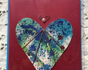 Hand Painted Red HEART WATERCOLOR Heart Greeting CARD, Blank Inside, Colorful Contrasting Envelope, EmbellishedTextiles, Ephemera