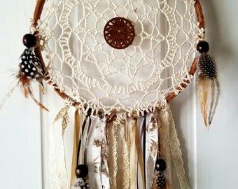 Medium natural boho gypsy dreamcatcher