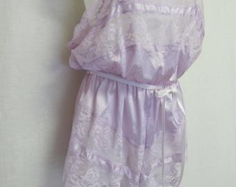 Plus Size Romper Lavender Romper Lace Onesie Bodysuit Teddie
