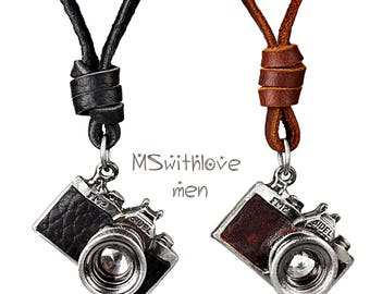 Camera Men Necklace, Photography Jewelry, Retro Jewelry, Leather Men Necklace, Travel Jewelry, Photographer Gift, Camera Charm