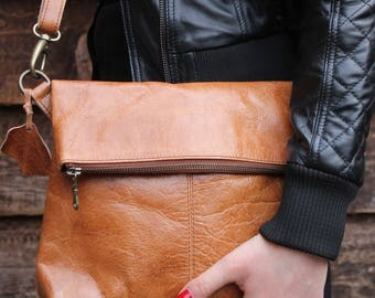 Mini Amelie Flap Over in Distressed Tan Leather