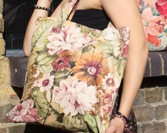 Shopper Leather Floral Italian Art