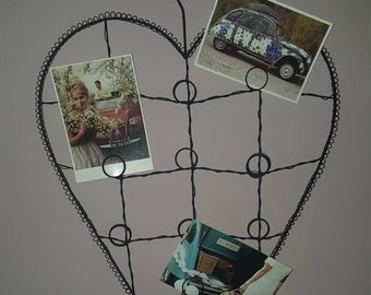 French Brocante Card Holder Valentine...heart wire ware rack...French Picture Holder...Picture Frame...shabby chic...Mothers Day Gift...