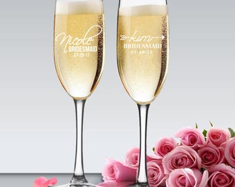 Bridesmaid Champagne Flutes, Bridesmaid Flutes Set, Personalized Flute Glasses, Wedding Toasting Glasses, Flutes for Bridesmaids
