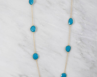 Turquoise Necklace, Turquoise Long Necklace, Designers Layered Necklace, Gold Necklace, Sterling Silver Necklace, Christmas Gift for Wife