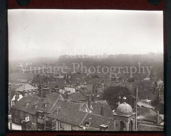 Antique Magic Lantern Glass Slide - Urban Scene of Rye East Sussex England with House Rooftops - Projector Slide