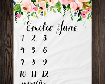Personalized Milestone Blanket Month Growth Tracker Minky Fleece Blanket Custom Girl Baby Shower Gift Watercolor Floral Newborn