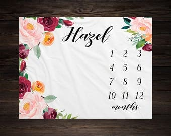 Baby Girl Milestone Blanket Month Growth Tracker Minky Fleece Blanket Custom Personalized Baby Shower Gift Watercolor Floral Newborn
