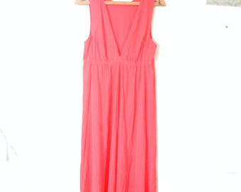 vintage tomato red / coral maxi length slip summer sun dress *