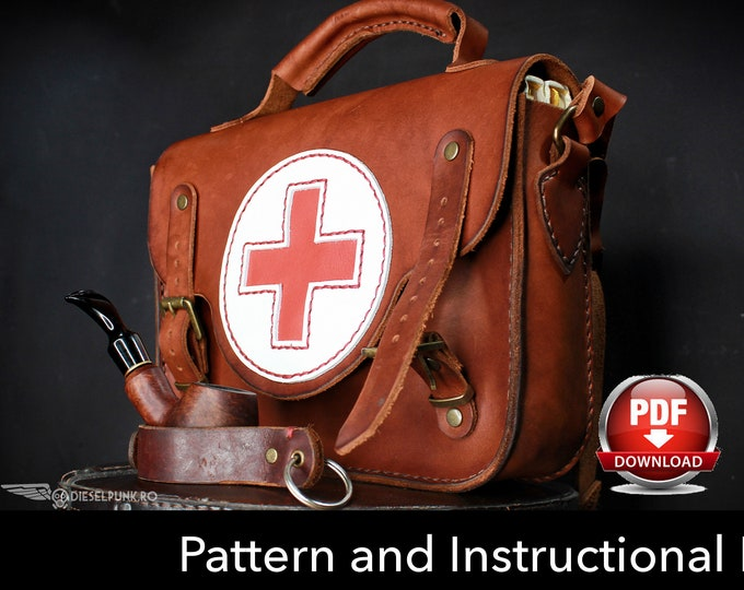 Bag Pattern - Leather DIY - Pdf Download - Leather Pattern - Doctor Bag Pattern - Messenger bag Pattern
