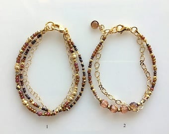 Browns and Gold Bracelets - Double and Triple Strand - Single or Pair - Crystal and Seed Beads With Gold Chain
