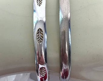 Vintage Sterling Silver Bangle Bracelets - Leaf Pattern and Plain