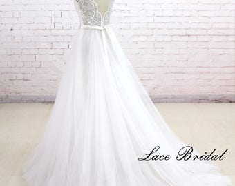 Beach Wedding Dress, Deep V Back Wedding Dress, Lace Wedding Dress, A Line Wedding Gown, Bridal Dress, Custom Dress