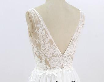 Sexy Lace Wedding Dress A Line Tulle Wedding Dress Ivory Summer Wedding Dress Beach Bridal Gown