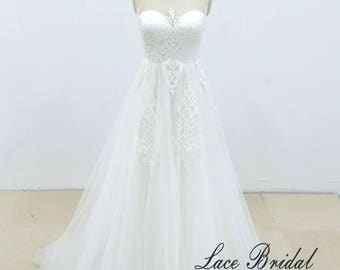 Romantic Ivory A line Lace Beach Wedding Dress with Sheer Back