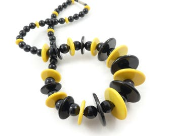 Vintage Black Yellow Necklace, Lucite Beads
