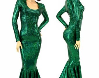 Glamorous, Bombshell Emerald Green Holographic Shattered Glass Gown  with Scoop Neckline, Long Sleeves and Puddle Train  1500119