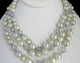 Japan Faux Pearl Necklace, Vintage Triple Strand Lavender, White Beaded Choker