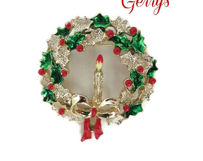Gerrys Christmas Wreath Brooch, Vintage Gold Tone Candle Wreath Pin, Signed Designer Brooch, FREE SHIPPING