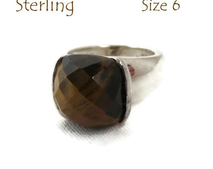 Sterling Silver Tiger Eye Ring - Faceted Stone Wide Band Ring, Size 6, Gift Idea, Gift Boxed