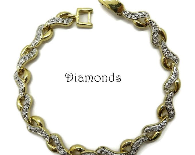 Vintage Diamond Bracelet, Gold Plated Sterling Silver Link Bracelet, Bridal Jewelry