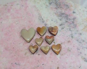 45% oFF Onyx Heart Cabochons/ set of 8/ cream/ tan/ white/ backed/ seconds